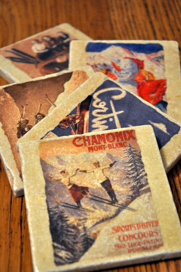 Vintage Marble Ski Coaster - Fresh Powder