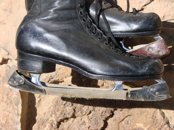 Black Leather Mens Figure Skates