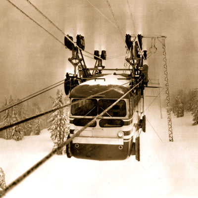 Vintage Ski Photo - Timberline Lodge Skiway Tram