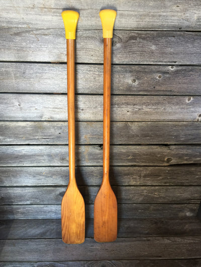 Vintage Wood Boat Oars - Yellow Handle