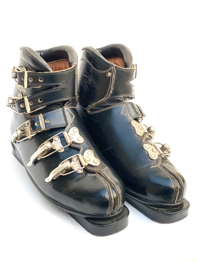 Vintage Treviso Leather and Metal Everest Buckle Ski Boots