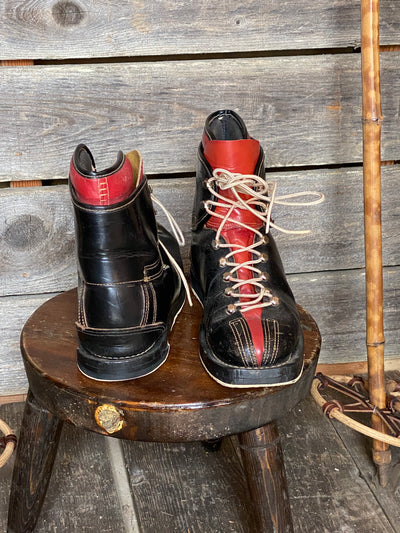 Vintage Black/Red Leather Ski Boots