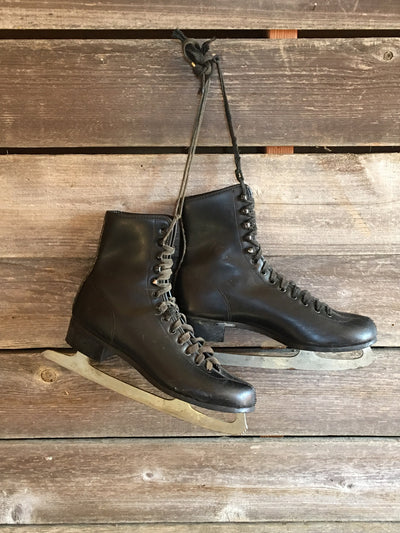 Vintage Black Leather Mens Figure Skates