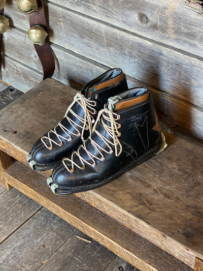 Vintage Nordica two-tone leather (black/tan) Ski Boots