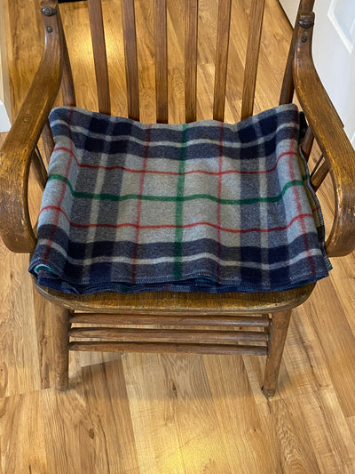 Grey/Blue Plaid Wool Blanket