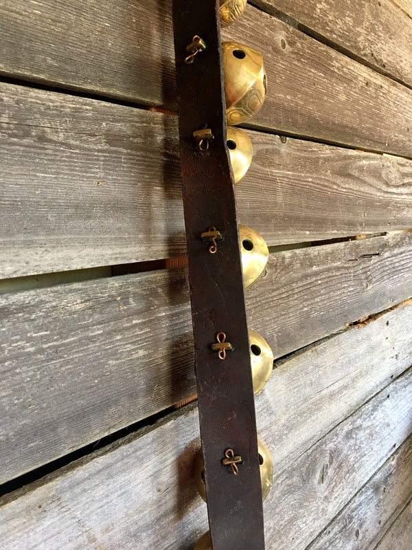 Sleigh Bells - Strap of 19 Bells attached to 84 in Vintage Leather Strap