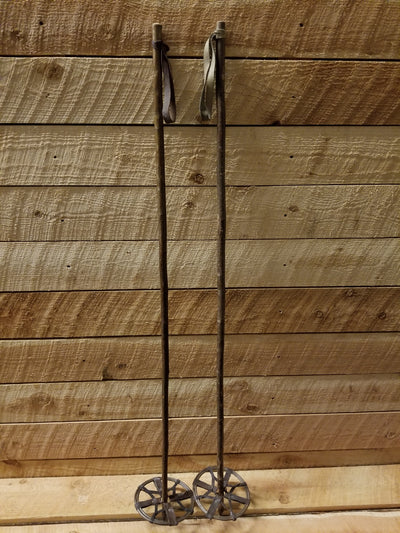 Vintage Hickory Ski Poles - baskets replaced