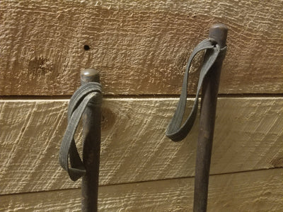 Vintage Downhill Ski Poles - Wooden, Leather