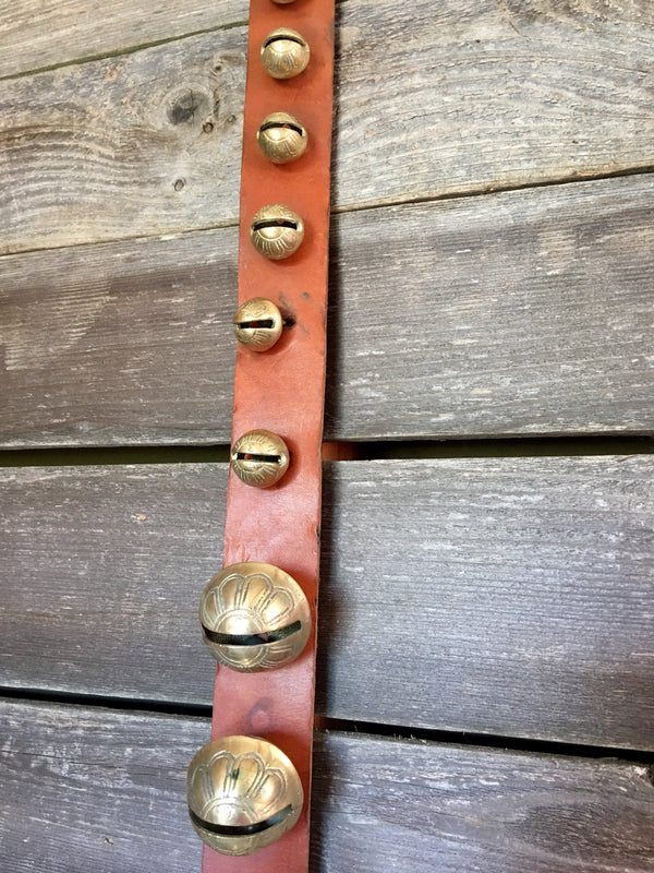 Sleigh Bells - Strap of 25 Bells attached to 84 in Vintage Leather Strap