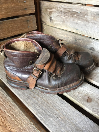 Square toe, 3-tone Vintage Leather Ski Boots