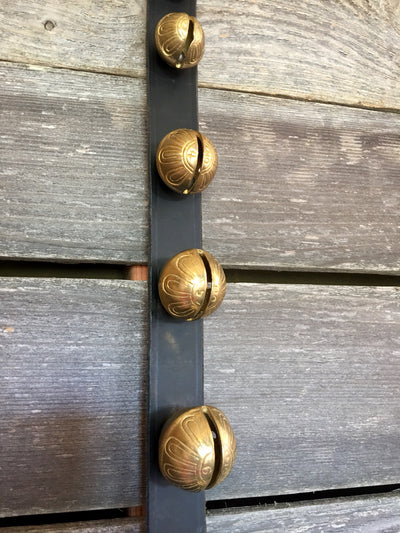Sleigh Bells - Newly Made 81 inch black leather strap of 23 Bells