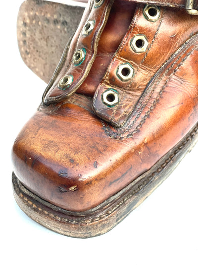 Vintage Square Toe Leather Ski Boots