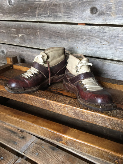Leather Vintage Skiing Boots