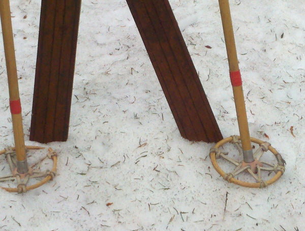 Wooden Northland Skis with Bamboo Ski Poles