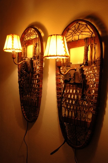 Antique Snowshoe Sconce Set