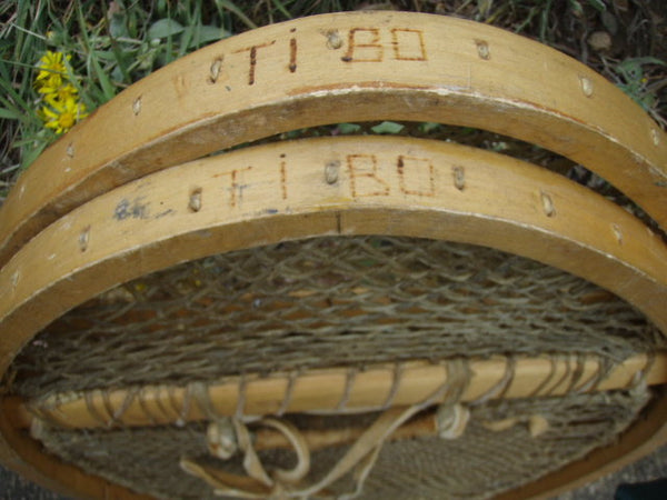 Antique Snowshoes - 1920s Native American Bearpaw Snowshoes