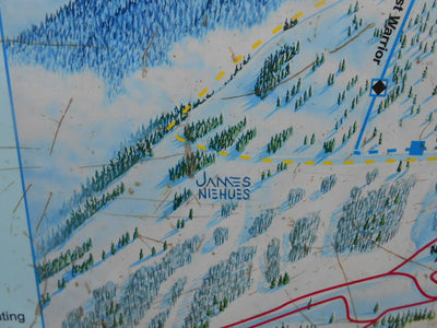 Vintage Grand Targhee base area trail map sign
