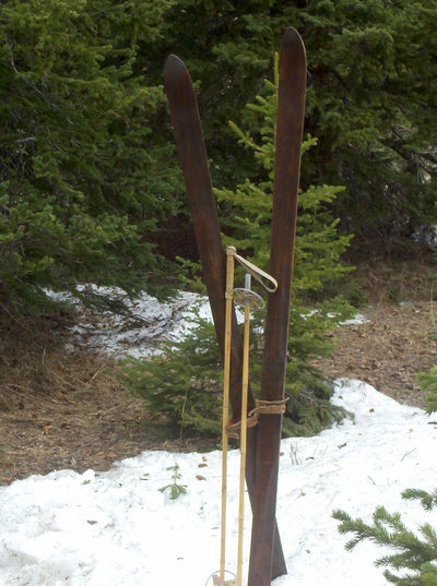 Vintage Lund Downhill Skis with Poles