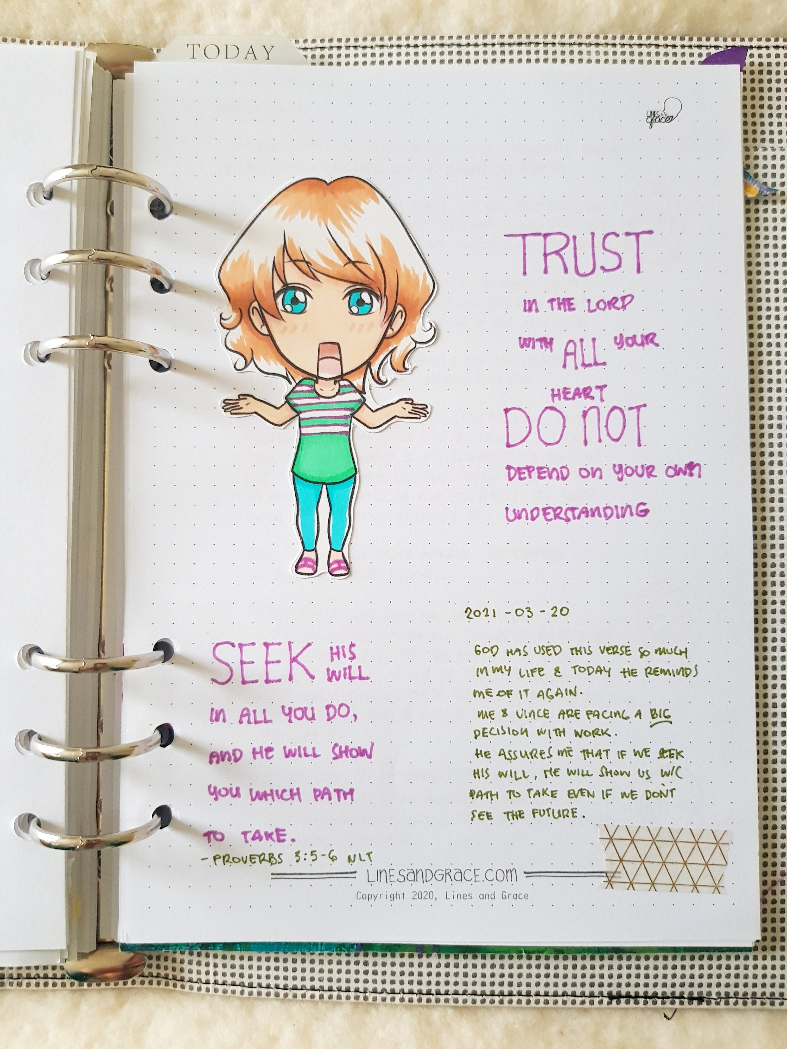 A journal page using a colored in character from the Illustrated Life Story Journal printable