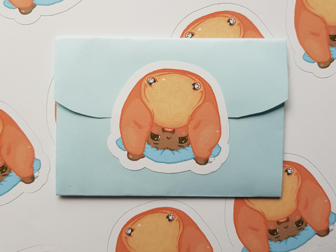 Envelope seal - headstand baby sticker