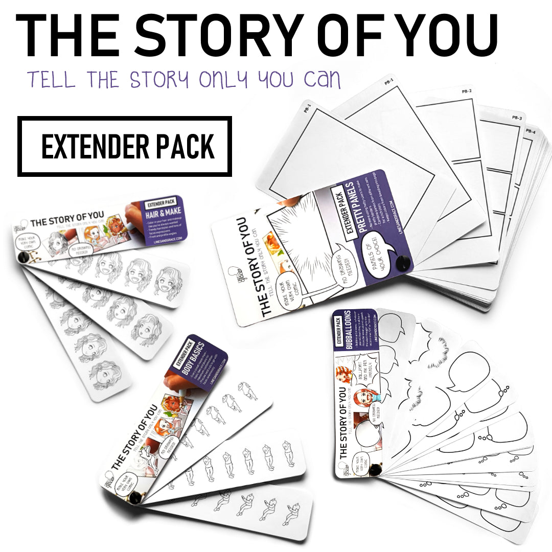 Extender Packs - Hair & Make, Body Basics, Pretty Panels, and Bubballoons from the Story of You Collection of Storytelling Stickers