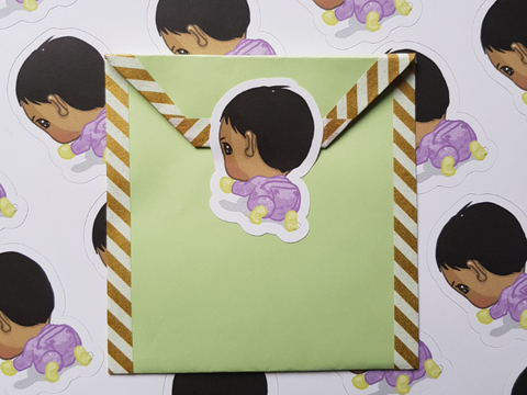 envelope for invitations with baby sticker as seal