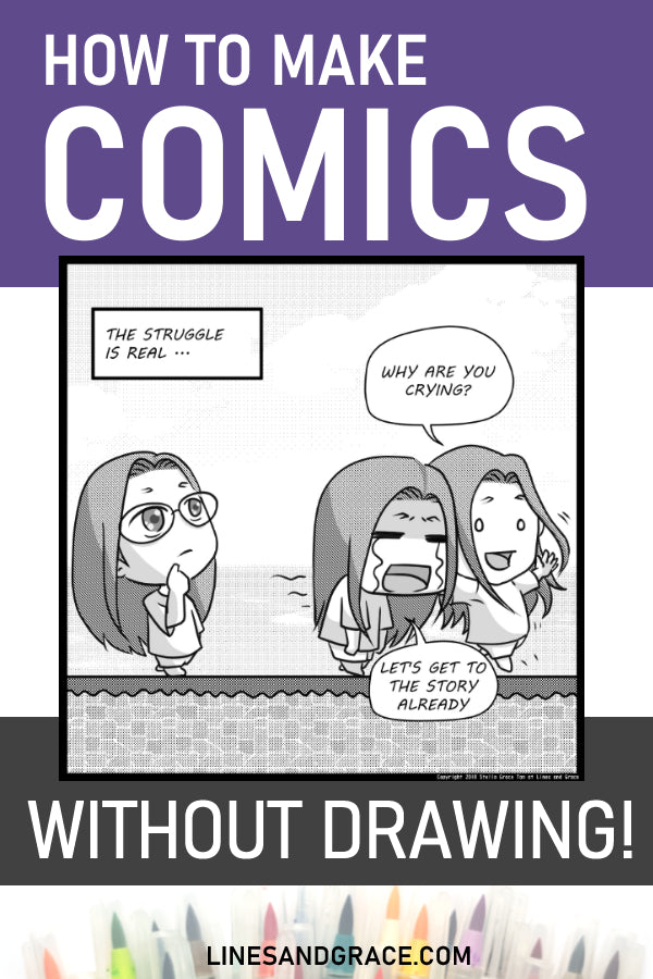 How to make comic without drawing on Lines and Grace - pinnable image