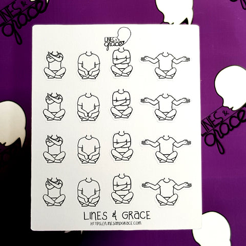 Body Pose Stickers - Shirt and Jeans - Girls : Set 2