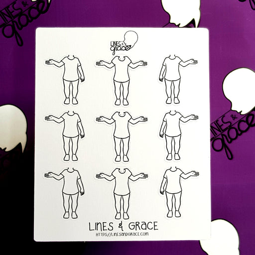 Body Pose Stickers - Shirt and Jeans - Girls : Set 3