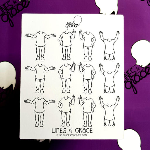 Body Pose Stickers - Shirt and Jeans - Girls : Set 4