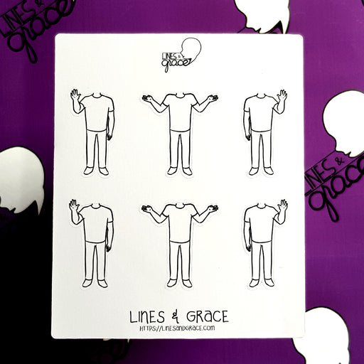 Body Pose Stickers - Shirt and Jeans - Guys : Set 1