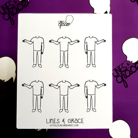 Body Pose Stickers - Shirt and Jeans - Guys : Set 7