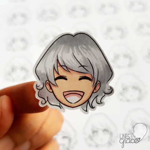 Emoji face mood tracker printable turned sticker cut out - colored with light grey hair