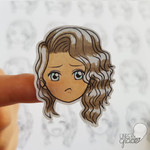 Emoji face mood tracker printable turned sticker cut out - colored with brown shiny hair