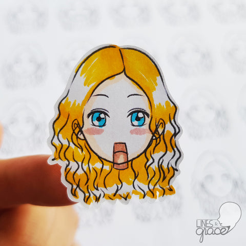 Emoji face mood tracker printable turned sticker cut out - colored with golden yellow hair
