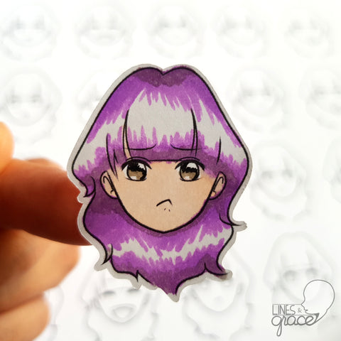 Emoji face mood tracker printable turned sticker cut out - colored with purple hair