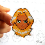 Emoji face mood tracker printable turned sticker cut out - colored with blonde hair and tan skin