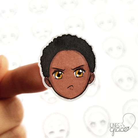 Emoji face mood tracker printable turned sticker cut out - colored with black hair and dark skin