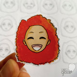 Emoji face mood tracker printable turned sticker cut out - colored with orange and red hair