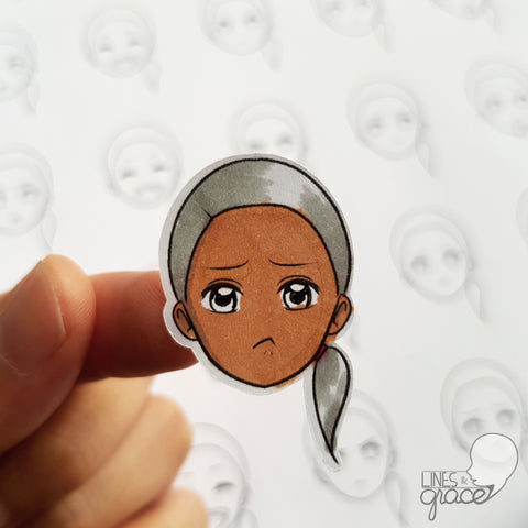 Emoji face mood tracker printable turned sticker cut out - colored with grey hair and dark skin