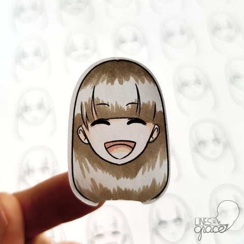 Emoji face mood tracker printable turned sticker cut out - colored with brown grey hair