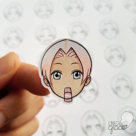 Emoji face mood tracker printable turned sticker cut out - colored with pink and white hair