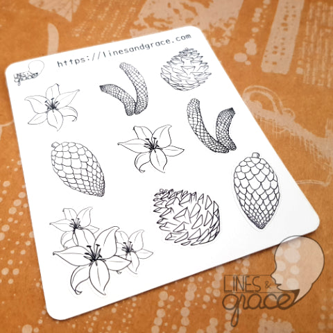 Lilies and Pinecones Thanksgiving - Coloring Deco Stickers