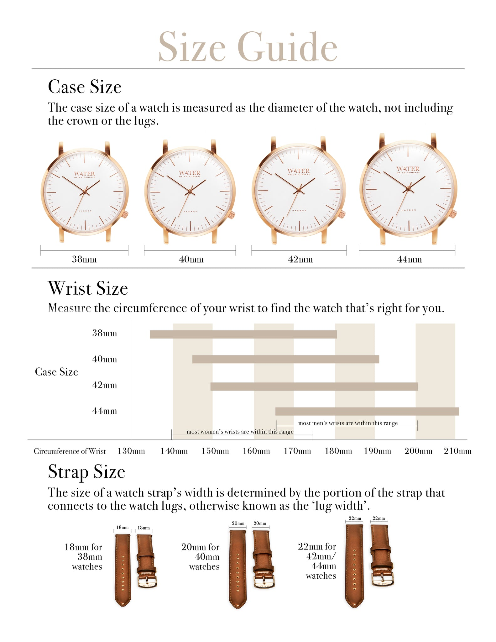 Water Watch Company Size Guide