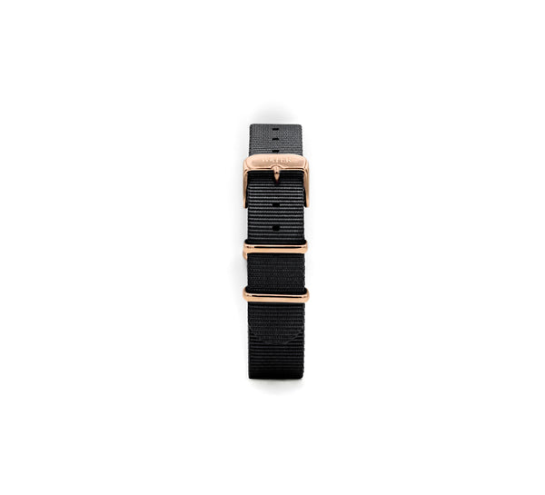 Nato Strap in Black/Rose Gold