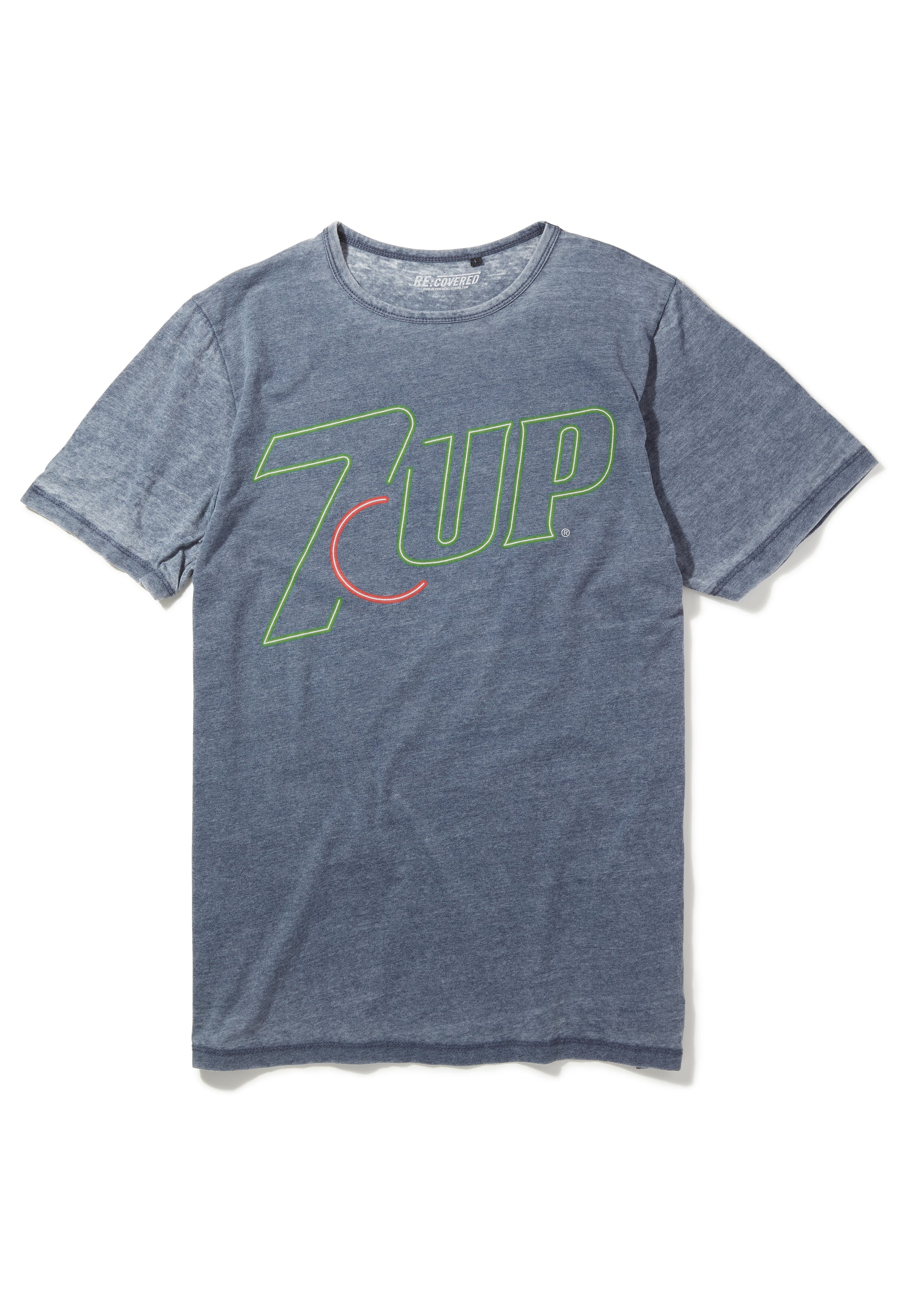 Recovered 7UP Neon Logo Navy T-Shirt