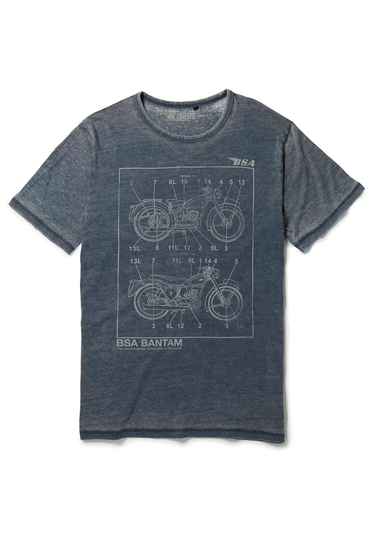 Recovered BSA Motorbike Bantam Bike Linear Sketch Blue T-Shirt