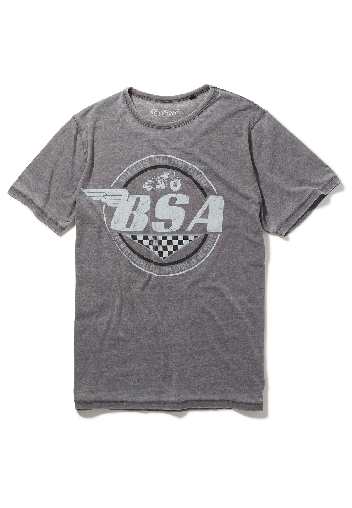 Recovered BSA Motorbike Wings Logo Mid Grey T-Shirt