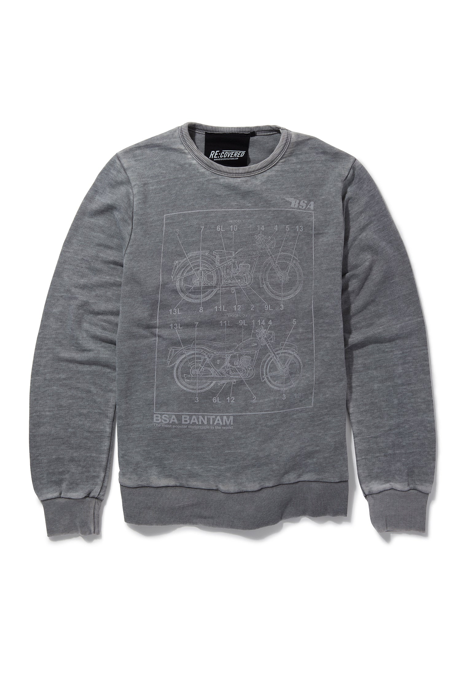 Recovered BSA Motorbike Bantam Bike Linear Sketch Mid Grey Sweatshirt