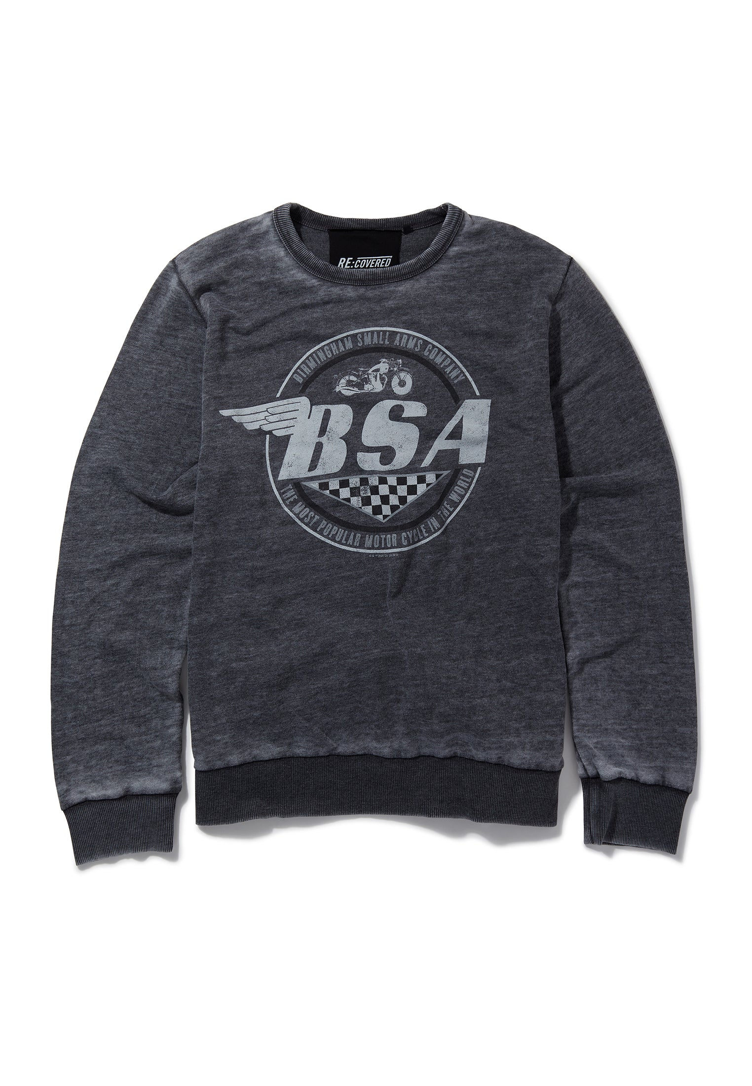 Recovered BSA Motorbike Wings Logo Charcoal Sweatshirt